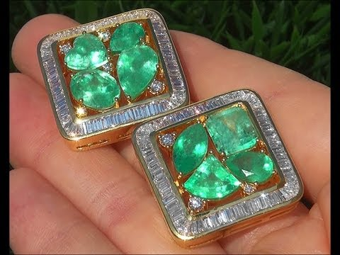 Estate 20.54 ct Natural Colombian Emerald Diamond 18k Yellow Gold Stud Earrings