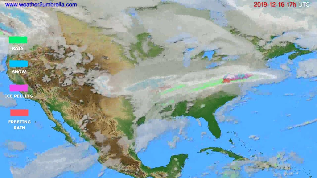 Precipitation forecast USA & Canada // modelrun: 12h UTC 2019-12-15