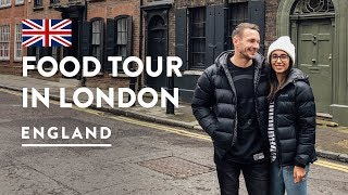 8 MUST TRY BRITISH MEALS! EATING LONDON FOOD TOUR   England Travel Food Vlog 150, 2018