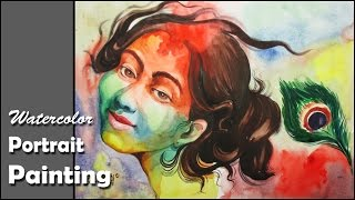 Watercolor Portrait Tutorial | A Tribute to Goddess Radha on Holi