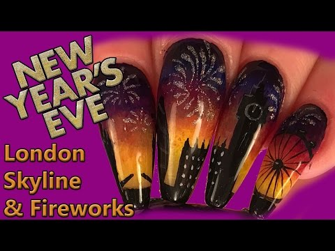 Nail Art – New Years Eve London Skyline & Fireworks Design – Sculpted Acrylic  and Hand Painted