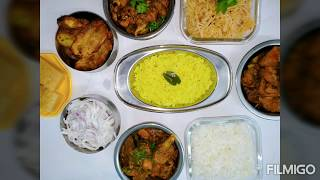 Non - Veg Meals // Pepper chicken // Chicken curry without tomatoes // chicken fry // plain briyani