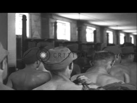 Soldiers of 19th German Army undergo a physical checkup by their own medics at a ...HD Stock Footage