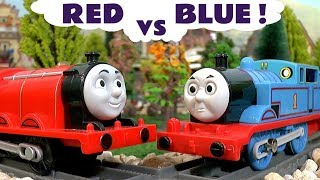 Thomas The Tank Engine Red vs Blue Toy Trains Football Game Story with Disney Cars McQueen TT4U