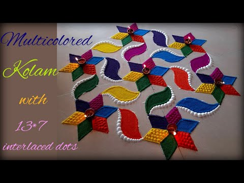 beautiful multicolored kolam design with 13*7 dot by poonam borkar