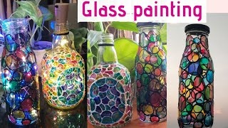 Bottle Crafts/Glass Painting On Bottle/glass Painting For Begginers/glass Painting Malayalamtutorial