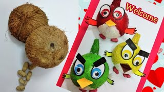 How to make Angry Birds with Coconut Shell | 3D Coconut Shell Wall hanging Making | Easy Kids Craft