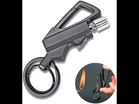 Вечная спичка / огниво водонепроницаемая керосиновая 4 в 1 брелок/карабин/открывалка Flint (RL-25559) Video #1