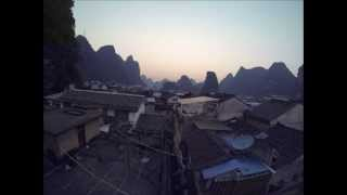 Solnedgang over Yangshuo