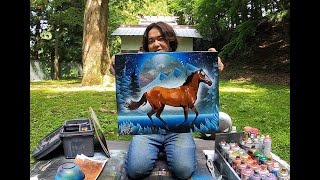 Beautiful Steed | Big Horse Painting By Spray Art Eden
