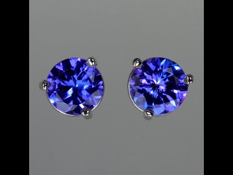 Tanzanite Earrings in White Gold 1.35 Carats