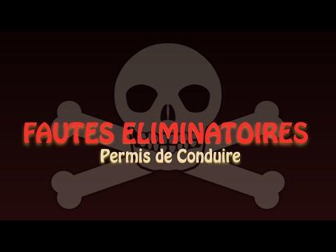 LES FAUTES ELIMINATOIRES AU PERMIS DE CONDUIRE