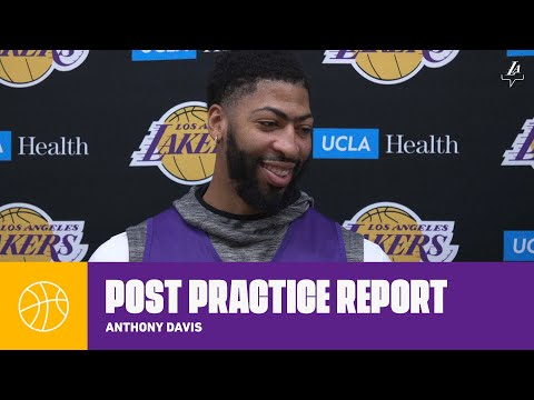 """AD on shoulder: """"I don't think about it when I'm playing""""   Lakers Practice"""
