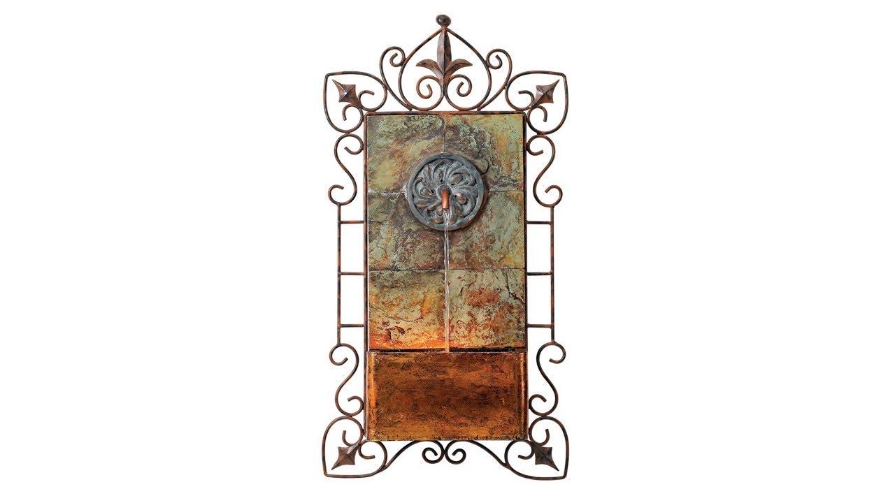 """Ibizi Faux Slate and Iron Leaf Medallion 33""""H Wall Fountain"""