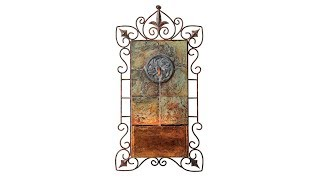 "Ibizi Faux Slate and Iron Leaf Medallion 33""H Wall Fountain"