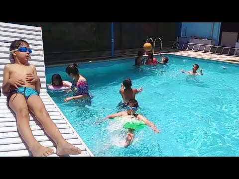 Kids Playtime at the Swimming Pool ! Family Fun Outdoor Swimming Pool !!