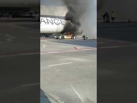 Ехал за пассажирами и загорелся Airbus A340-300 в Германии