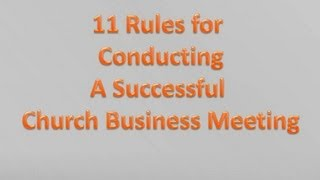 11 Steps to a PRODUCTIVE Church Board Meeting