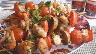 Бесподобный куриный шашлык с овощами в кисло-сладком маринаде