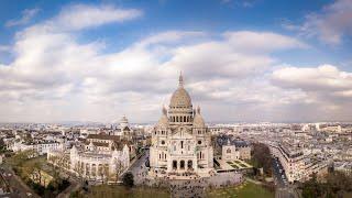 Sacre Coeur Basilica Paris drone 4k
