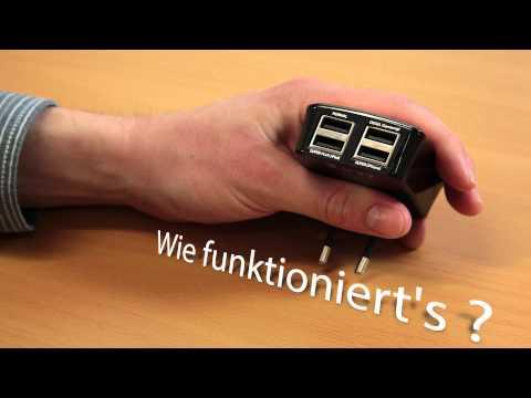 tizi Tankstelle, USB-Ladestation mit vier Anschlüssen für iPhone, iPad und USB-Geräte