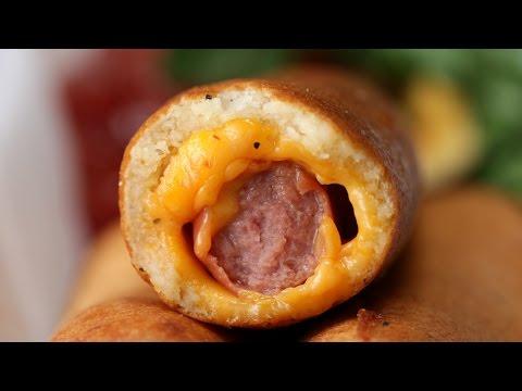 Cheesy Fried Hot Dogs