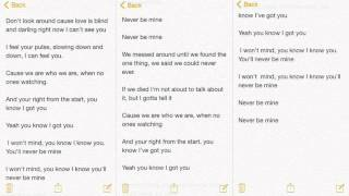 I Won't Mind - Zayn Malik (lyrics)
