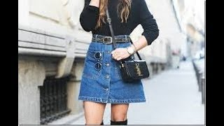 Basic Style Shirt With Jean Skirt For Winter
