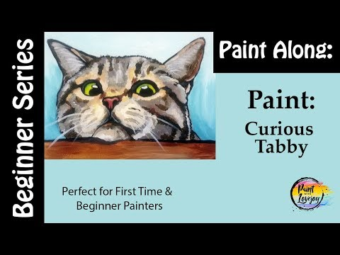 How to paint a Cat: Tabby cat looking for a treat - Perfect for beginner & first time painters 🎨😼