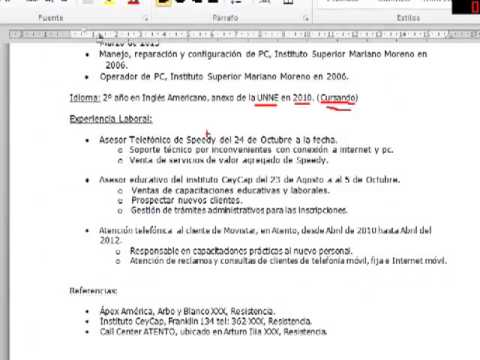 Tag Curriculum Vitae Basico Argentina Para Completar