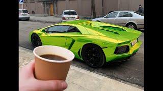 Pouring coffee on loud lamborghini..