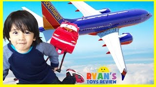 Ryan on the Airplane going to DisneyLand Egg Surprise Toys Paw Patrol Ryan ToysReview