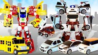 Тоботы трансформеры. Тобот Кватран и Огромный Карбот. Роботы из четырех машинок. Кто больше?