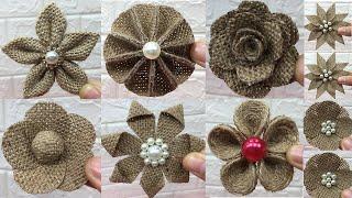 10 Easy Burlap Flowers Tutorial | Jute Craft Flower | #2