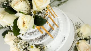 How To Make A Gold Drip On Whipped Cream Cake   Semi Naked Wedding Cake Tutorial With Real Flowers