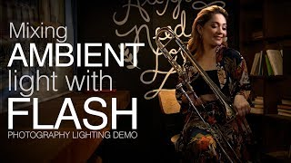Mixing Indoor Ambient Light And Off Camera Flash: Photography Lighting Tutorial With Demo