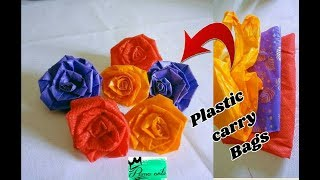 Rose flowers with plastic Carry bags | easy method | Best out of waste