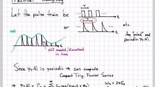 "This video works through the basic theory of sampling continuous-time signals with a ""practical"" pulsed waveform.  Since the pulsed waveform is periodic it has a Fourier Series representation which can be computed to quantify its spectral content.  Using the compact trigonometric Fourier Series, we see that multiplication in time with a practical pulsed waveform still results in copies of the original signals spectrum being shifted up and down the frequency axis in multiples of the sampling frequency.  Thus, it is possible to sample using a ""practical"" pulsed waveform as long as the Nyquist sampling criteria is satisfied."