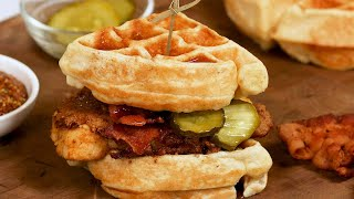 Keto Chicken and Waffle Sandwich Recipe