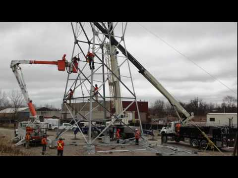 Timelapse: Transmission Tower Construction – January 24, 2017