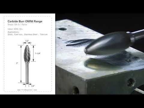 FindBuyTool Carbide Burr SH-5 Flame Shape OMNI Range Head D 1/2 x 1-1/4L, 1/4 Shank, 3 Inch Full Length