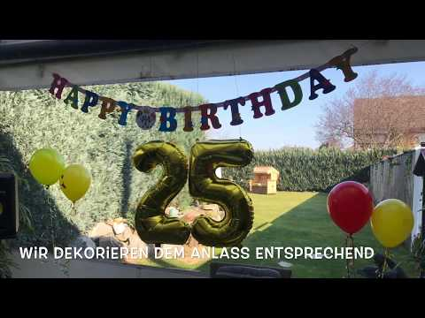Ungewöhnliches Geschenk zum 25 Geburtstag Familienfest mal anders mit Luftballons und Tauben