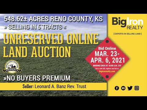 Land Auction 548.62+/- Acres Reno County, KS Selling in 5 Tracts