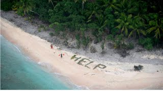 Castaways write HELP on beach with palm leaves; Missing surfer found alive - Compilation