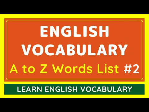 A to Z Learn English Vocabulary Words with AUDIO #2 | NEW & BASIC DAILY USE ENGLISH WORDS LIST