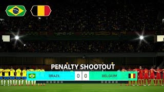PES 2018 BRAZIL vs BELGIUM PENALTY SHOOTOUT | 2018 WORLD CUP QUATER FINALS | GAMEPLAY