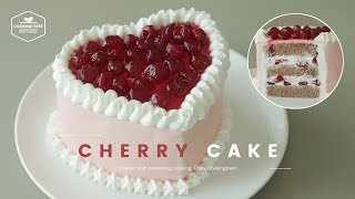 Valentine's Day Cherry Cake Heart Dessert