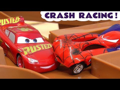 Hot Wheels Superheroes Crash Racing With Disney Pixar Cars 3 McQueen And Avengers 4 Heroes