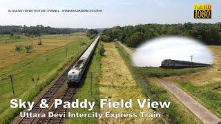 Sky & Paddy Field View Uttara Devi Train | DJI Phantom 4 | GoPro Hero 7 | Sri Lanka Railway