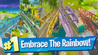 Embrace the rainbow by visiting the red, yellow, green, blue and purple bridges Location - Fortnite